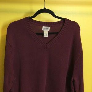 FINAL XLT L.L. Bean Burgundy V-neck cotton sweater